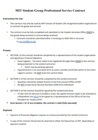 Professional Student Group Service Contract