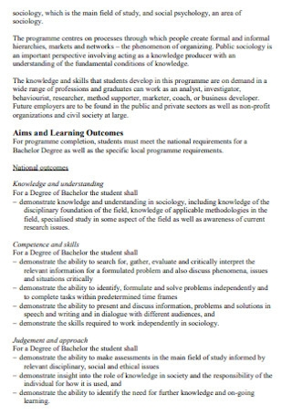 Programme Study Plan
