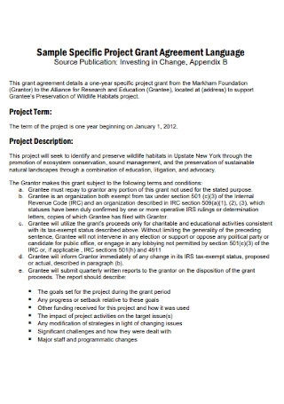 Project Grant Agreement