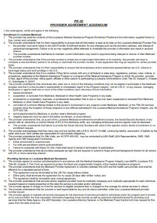 Provider Addendum Agreement