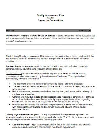 Quality Facility Improvement Plan