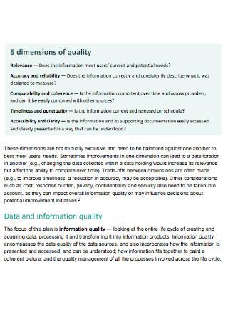 Quality Information Plan