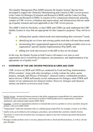 Quality Management Plan for Chemistry