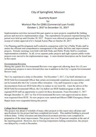 Quarterly Report for Workout Plan