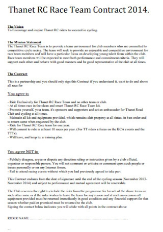 Race Team Contract Template