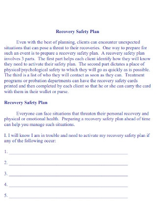 Recovery Safety Plan