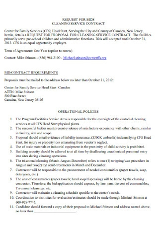 Request for Bids Cleaning Contract