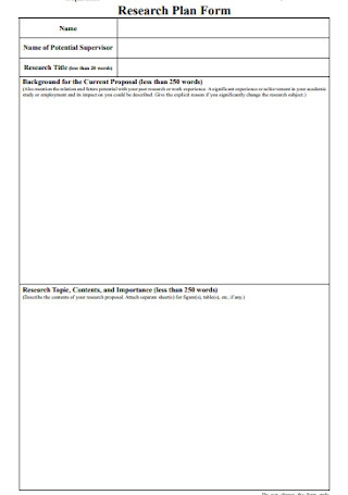Research Plan Form