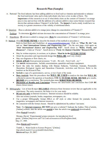 Research Plan Format