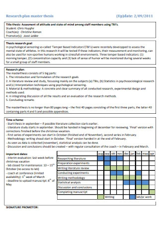 Research Plan Master Thesis Template