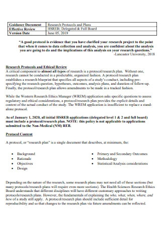 Research Protocols and Plans