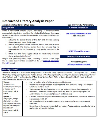 Researched Literary Analysis Template