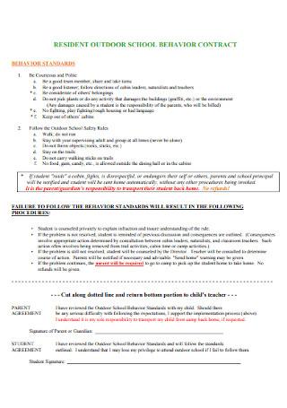 Resident Outdoor School Behavior Contract