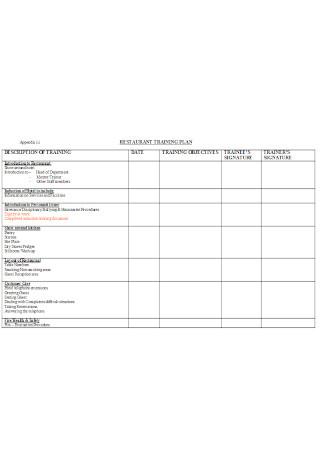 Restaurent Training Plan Template