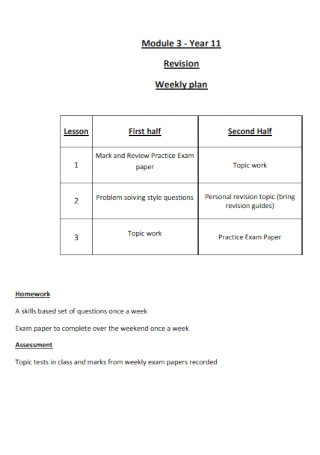 Revision Weekly Plan