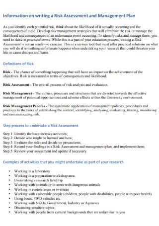 Risk Assessment and Management Plan