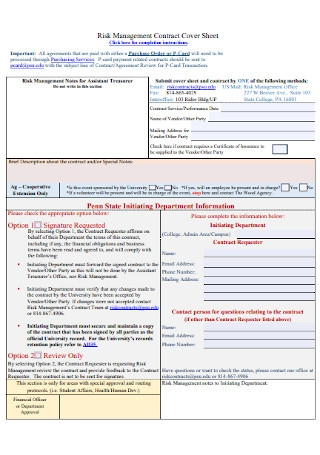 Risk Management Contract Cover Sheet