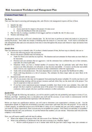 Risk Management Plan Worksheet