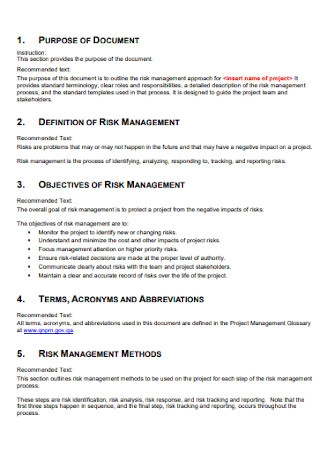 Risk Management Preparation Plan