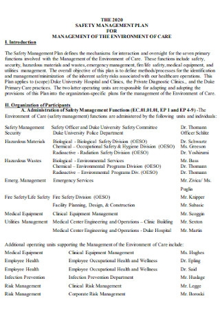Safety Management Plan Template