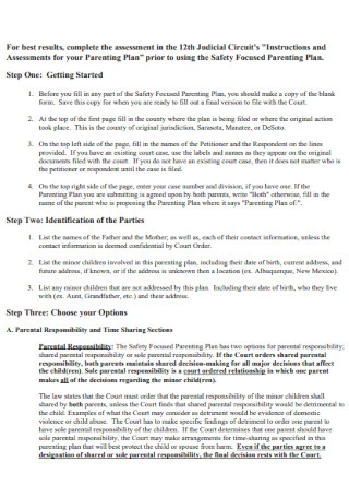 Safety Parenting Plan Template