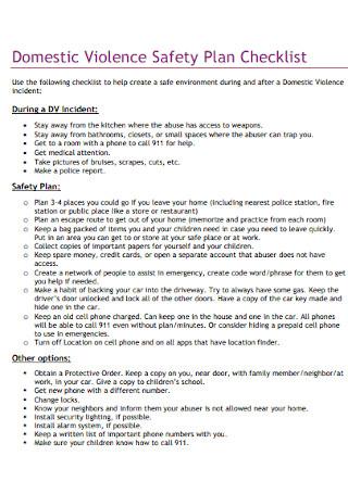 Safety Plan Checklist Template