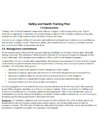 Safety and Health Training Plan