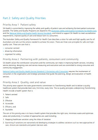 Safety and Quality Plan Template