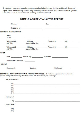 Sample Accident Analysis Report