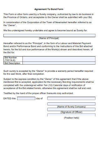 Sample Agreement top Bond Form