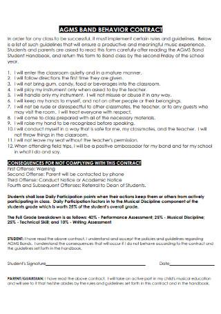 Sample Band Behavior Contract