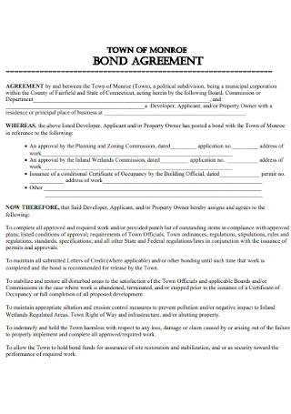 Sample Bond Agreement