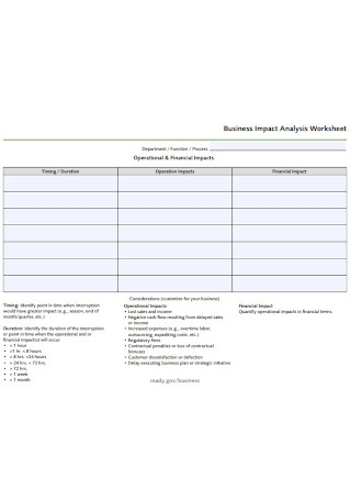 Sample Business Impact Analysis Worksheet
