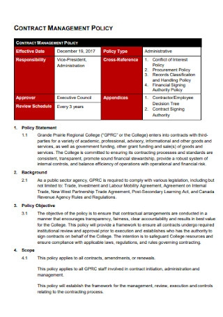 Sample Contract Management Policy Template
