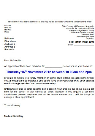 Sample Doctor Appointment Letter