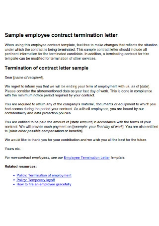 Sample Employee Termination Contract Letter