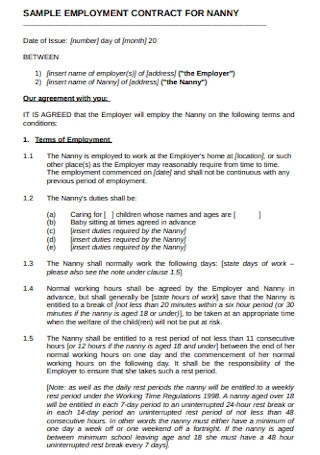 Sample Employment Contract for Nanny