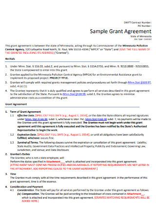 Sample Grant Agreement Template