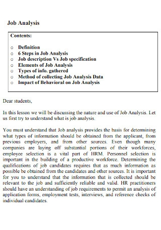 Sample Job Analysis Template