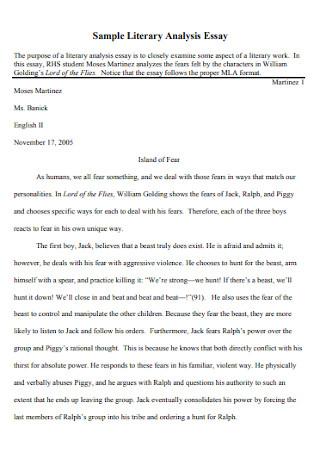 Sample Literary Analysis Essay Template