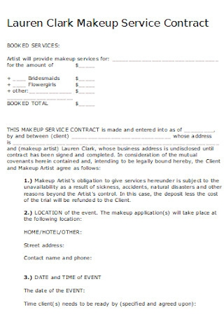Sample Makeup Service Contract