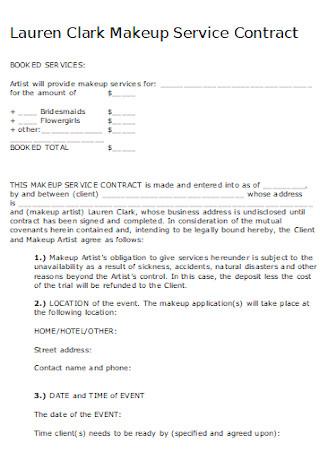 Sample Makeup Service Contract