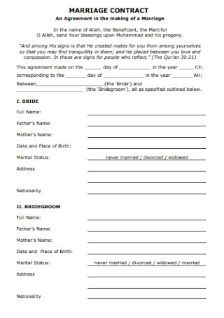 Sample Marriage Contract Template