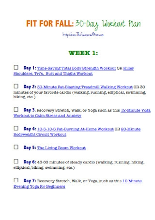 Sample Monthly Workout Plan