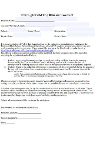 Sample Overnight Field Trip Behavior Contract