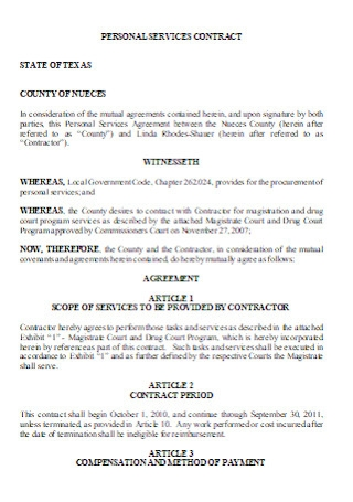 Sample Personal Service Contract