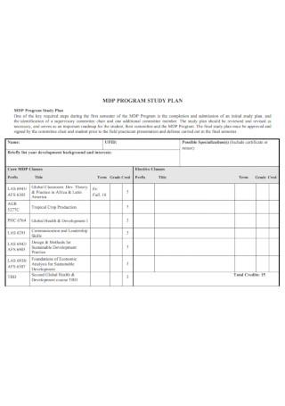 Sample Program Study Plan