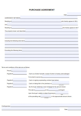 Sample Purchase Agreement Template