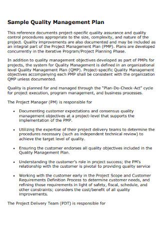 Sample Quality Management Plan