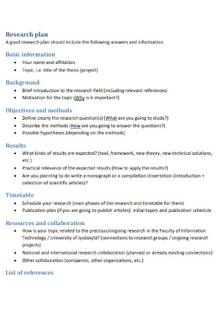 Sample Research Plan Template